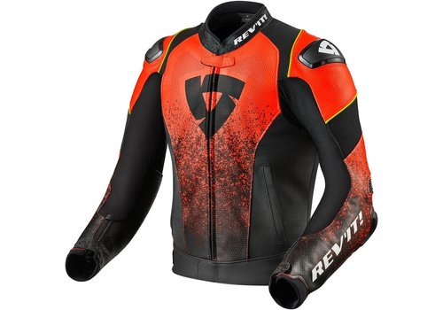 Revit Quantum Air Leather Jacket Black Fluo Red