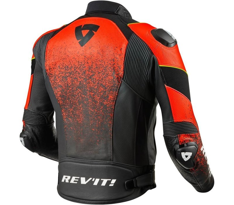 Buy Revit Quantum Air Leather Jacket Black Fluo Red? Free Shipping!