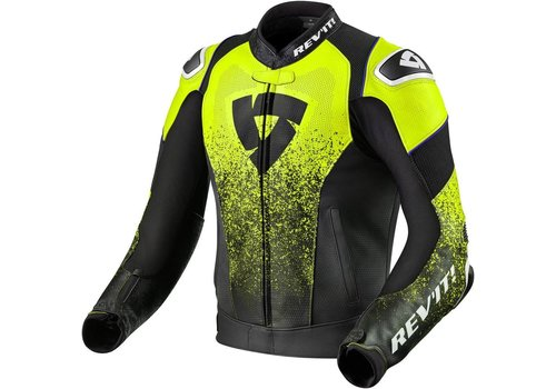 Revit Quantum Air Leather Jacket Black Fluo Yellow
