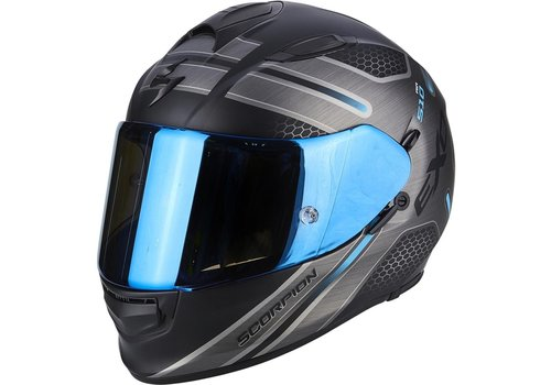 Scorpion Exo 510 Air Route Helm Zwart Matt Blauw