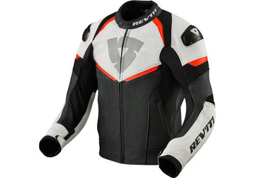 Revit Convex Leather Jacket Black Fluo Red