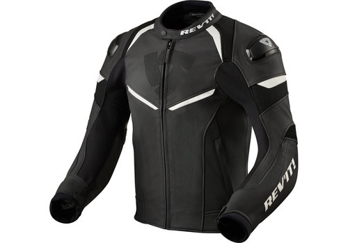 Revit Convex Leather Jacket Black White