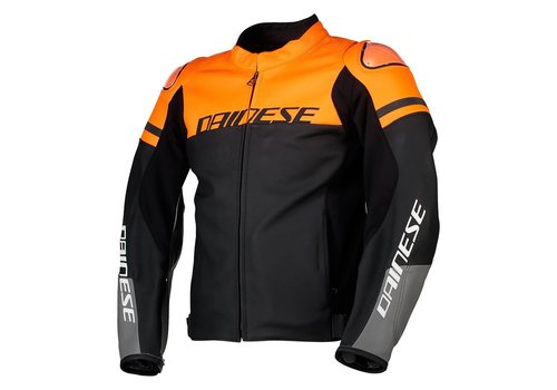 Dainese Agile Leather Jacket Black Orange