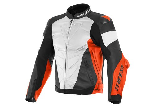 Dainese Super Race Leather Jacket White Red Black