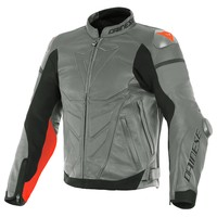 Dainese Super Race Leather Jacket Grey Red + 50% discount on the Pants!