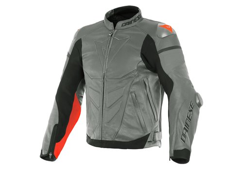 Dainese Super Race Leather Jacket Grey Red