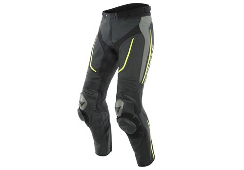Dainese Alpha Perf. Leather Pants Black Grey Yellow Fluo