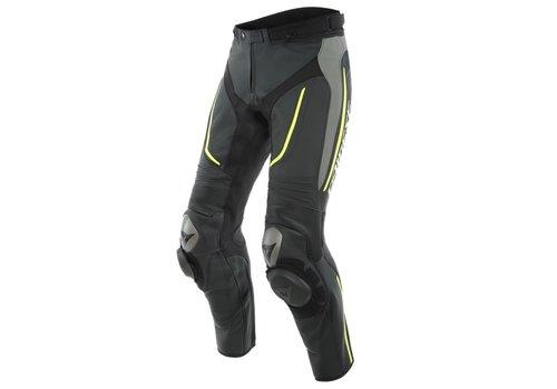 Dainese Alpha Perf. Pantaloni Di Pelle Nero Grigio Giallo Fluo