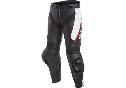 Dainese Delta 3 Leather Pants Black White Red