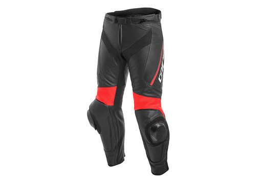 Dainese Delta 3 Leather Pants Black Red Fluo