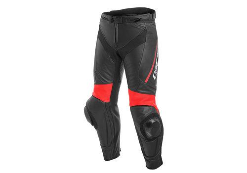 Dainese Delta 3 Pantaloni Di Pelle Nero Rosso Fluo