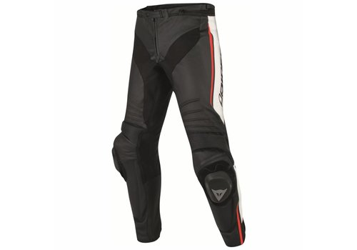 Dainese Misano Leather Pants Black White Red