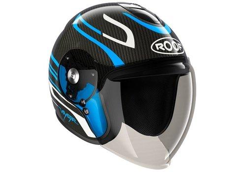 ROOF Voyager Carbon Arrow Blue Pearl White Helmet
