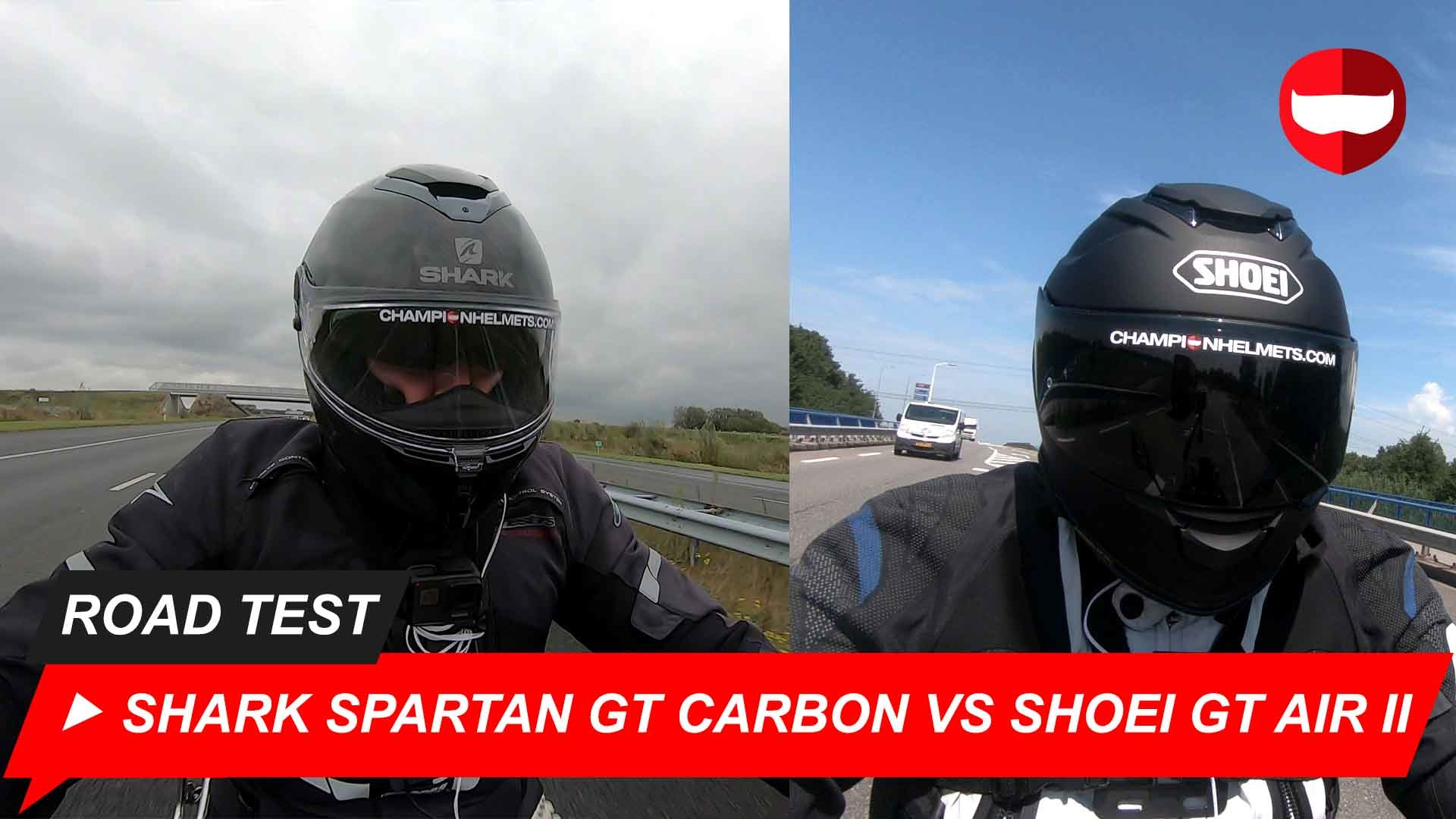 Shark Spartan GT Carbon vs Shoei GT Air 2 Road Test and Video