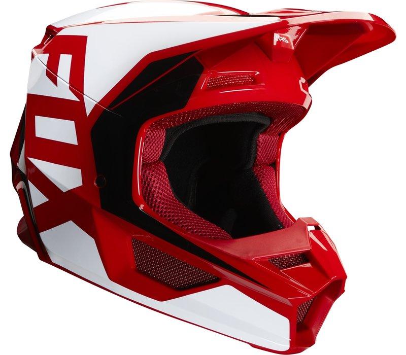 Fox V1 Prix Casco Cross Flame Rosso