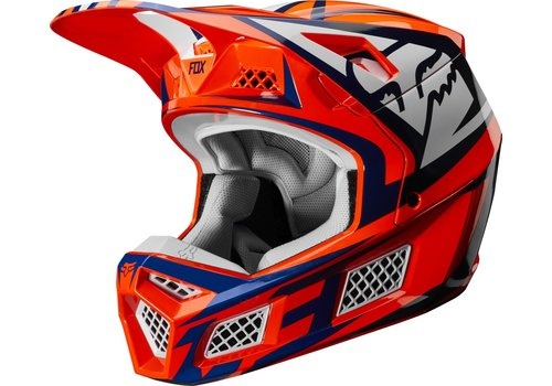 Fox V3 Idol Orange Blue Helmet