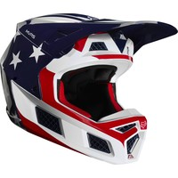 Fox V3 Prey Cross helmet White Red Blue