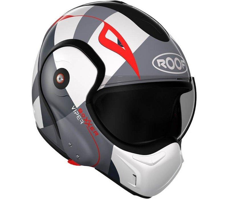 ROOF Boxxer Fiberglass Viper Systeem Helm Wit Zwart Rood + 50% korting op een Extra Vizier!