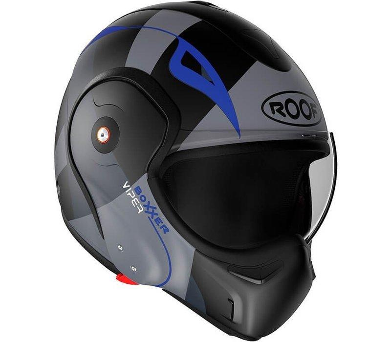 ROOF Boxxer Fiberglass Viper Systeem Helm Matt Zwart Blauw + 50% korting op een Extra Vizier!