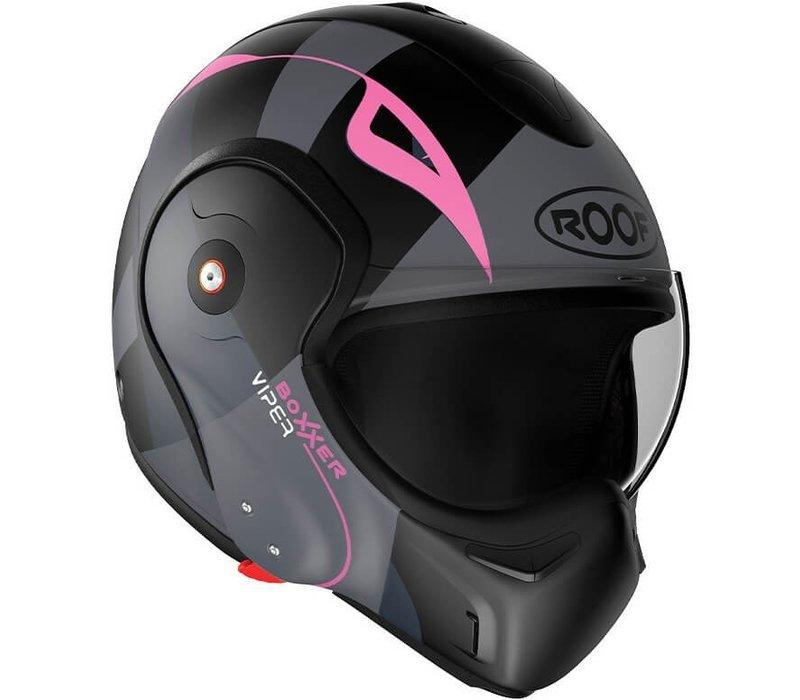 ROOF Boxxer Fiberglass Viper Systeem Helm Matt Zwart Roze + 50% korting op een Extra Vizier!