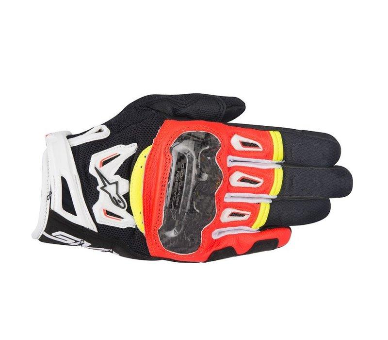 Alpinestars SMX-2 Air Carbon V2 Schwarz Rot Fluo Weiß Gelb Fluo Handschuhe kaufen? 5% Champion Cashback!