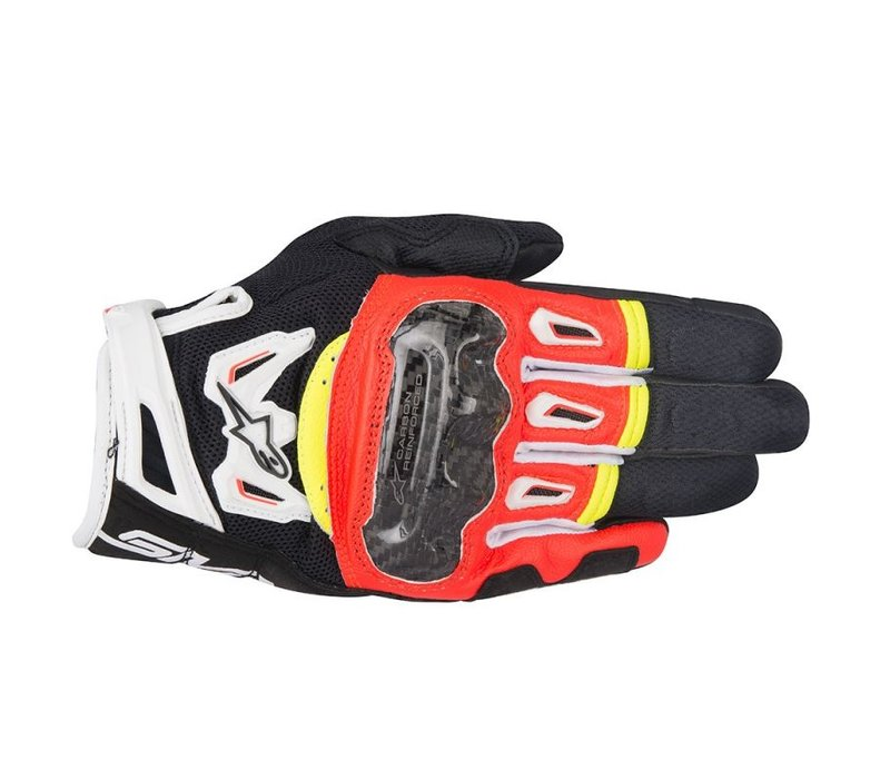 Buy the Alpinestars SMX-2 Air Carbon V2 Black Red Fluo White Yellow Fluo Gloves? 5% Champion Cashback on your Order Value!