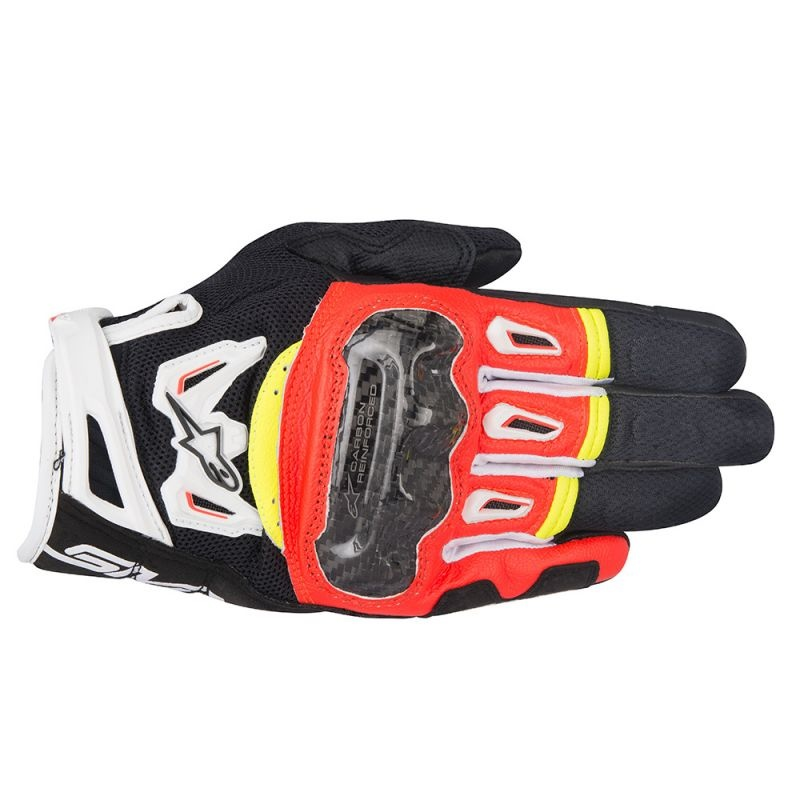 BLACK//RED//FLUO S Motorcycle gloves Alpinestars Copper Gloves Black Red Fluo