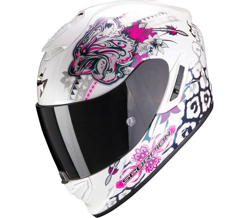 Scorpion EXO 1400 Air Toa Weiß Rosa Helm + 50% Rabatt auf ein Extra Visier!