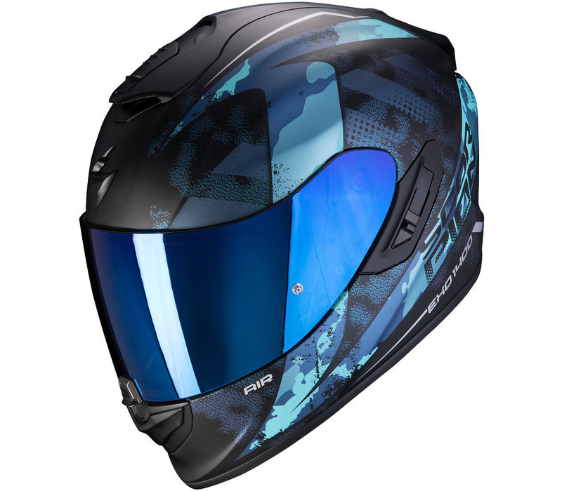 Casco Scorpion EXO-1400 Air Sylex Matt Nero Blu + 50% di sconto sulla visiera extra!