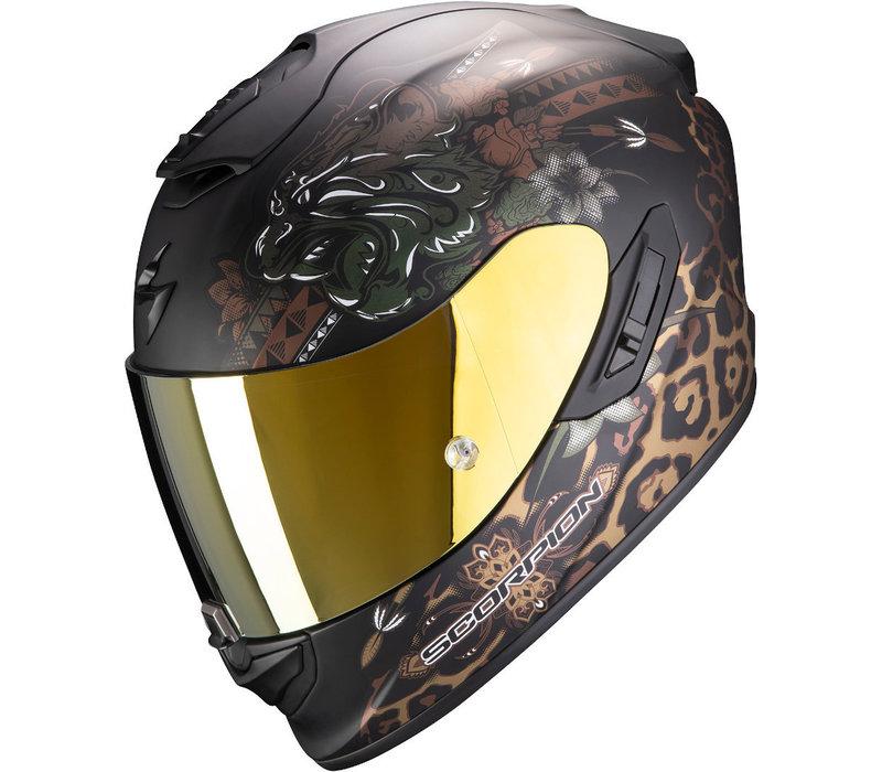 Scorpion EXO-1400 Air Toa Matt Schwarz Gold Helm kaufen? + 50% Rabatt auf ein Extra Visier!