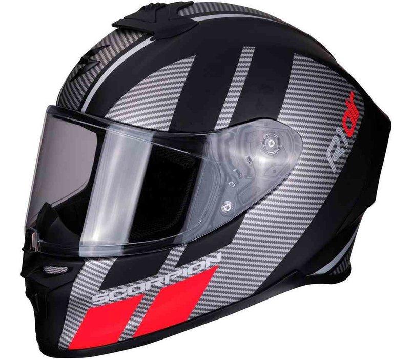 Scorpion EXO-R1 Air Corpus Matt Schwarz Silber Rot Helm + 50% Rabatt auf ein Extra Visier!    - Copy