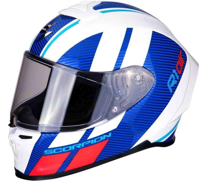 Scorpion EXO-R1 Air Corpus Helm Blau Rot Weiss + 50% Rabatt auf ein Extra Visier!