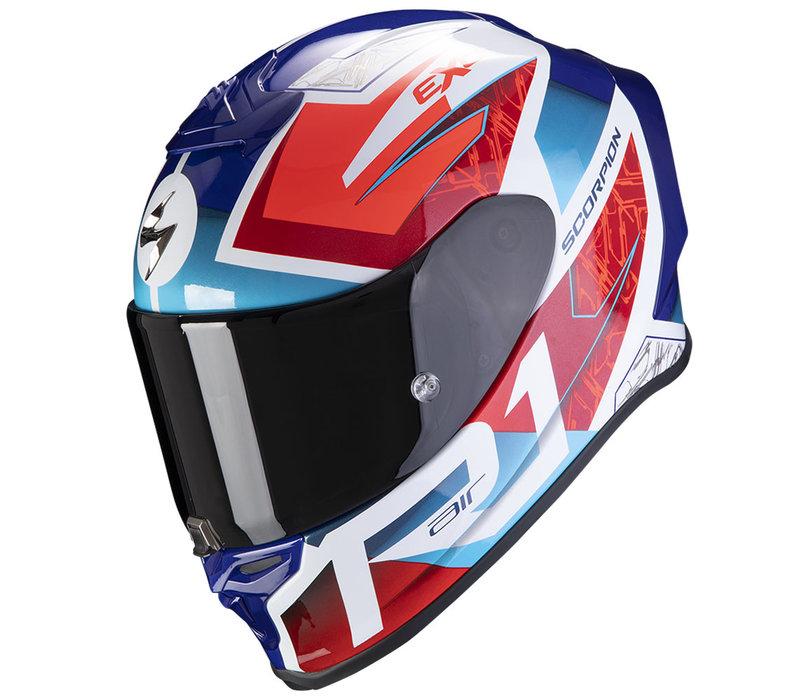 Scorpion EXO-R1 Air Infini  Helm Blau Rot Weiss + 50% Rabatt auf ein Extra Visier!