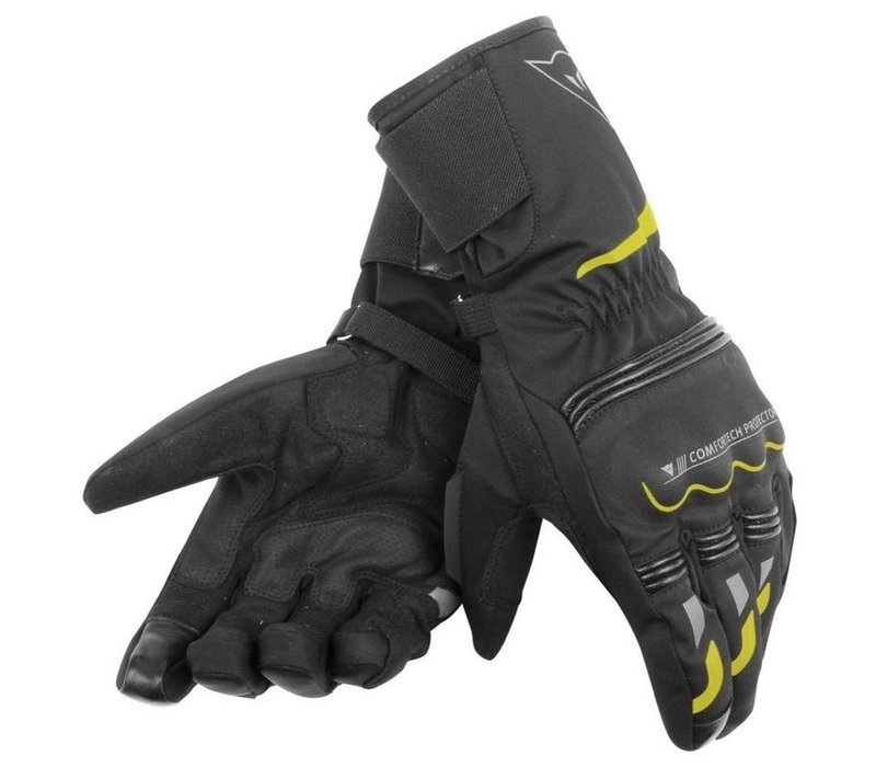 Dainese Tempest D-Dry Schwarz Neon Gelb Long Handschuhe + 5% Champion Cash Back