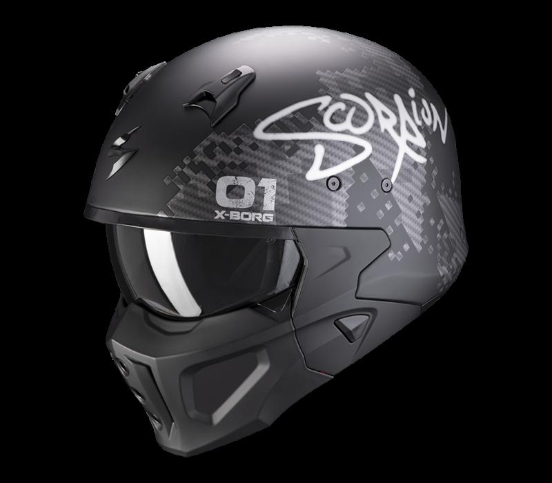 Scorpion Covert-X XBorg Matt Zwart-Zilver Helm kopen? Gratis Extra Vizier!