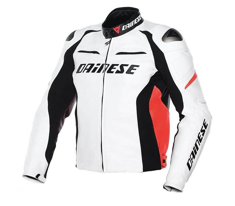Dainese Racing D1 Leather Jacket White