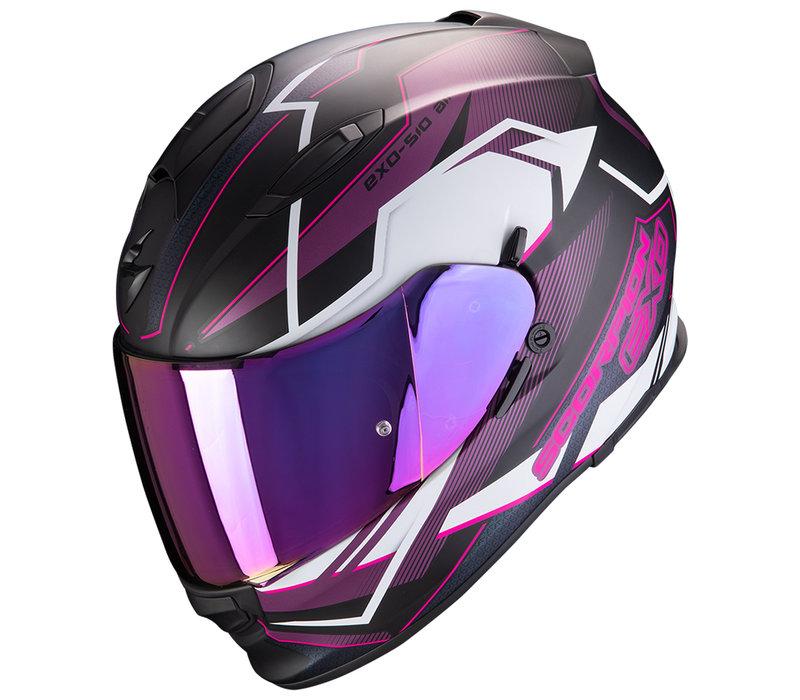 Scorpion Exo 510 Air Balt Helm Zwart Wit Roze + 50% korting op een Extra Vizier!