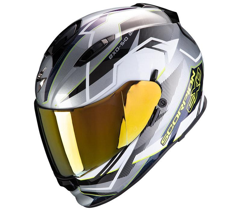 Scorpion Exo 510 Air Balt Helm Zilver Wit Neon-Geel + 50% korting op een Extra Vizier!
