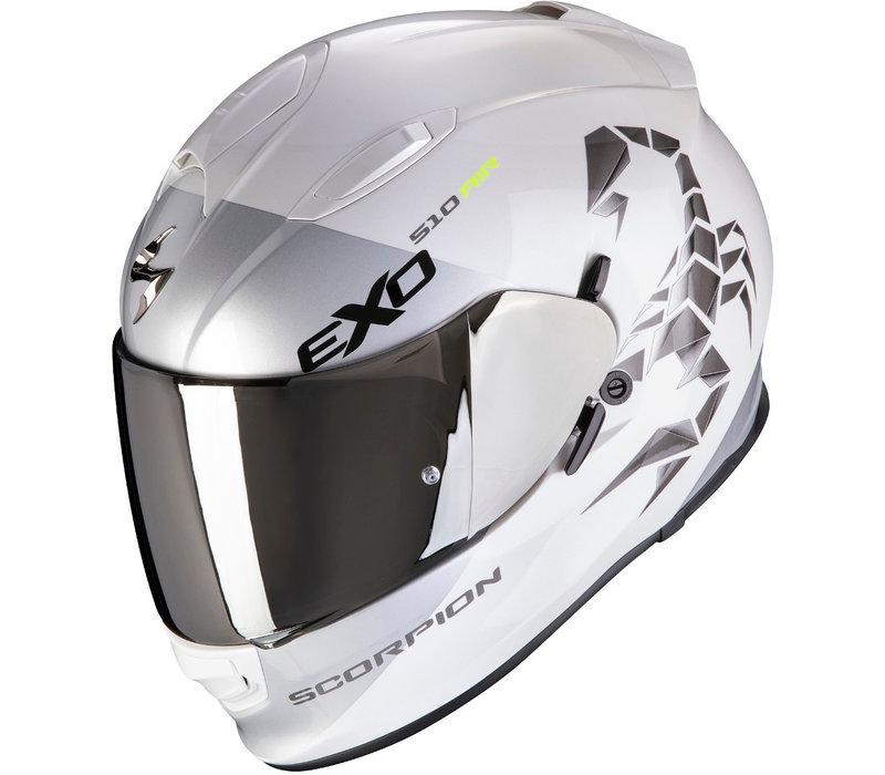 Scorpion Exo 510 Air Pique Helm Pearl Wit Zilver + 50% korting op een Extra Vizier!