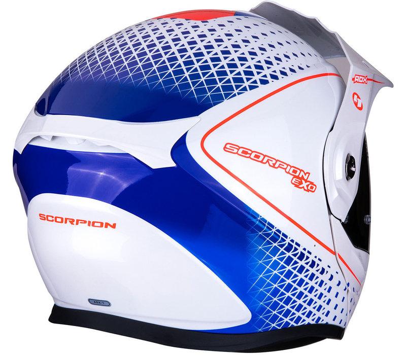 Scorpion ADX-1 Horizon Casco Pearl Binaca Rosso Azzurro + 50% di sconto sulla visiera extra!