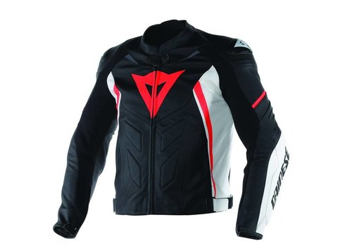 Dainese Avro D1 Pelle Giacca - Nero Bianco Rosso Fluo