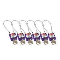 Nylon safety padlock purple with cable 195938
