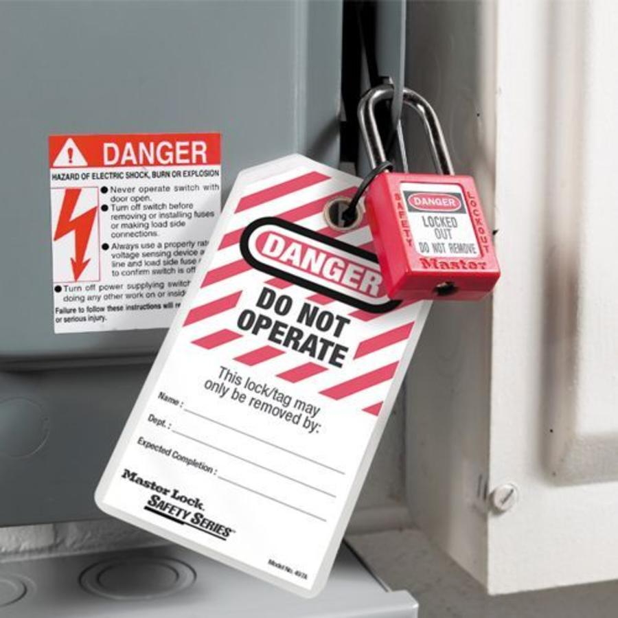 Laminated lock-out tags (12 psc) 497AD in English and blister packaging