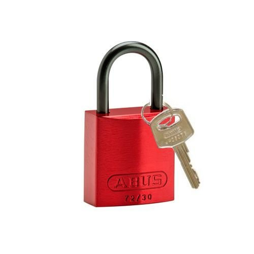 Anodized aluminium safety padlock red 834858