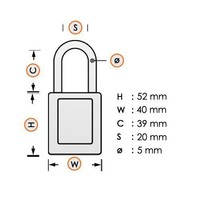 Aluminum safety padlock with red  cover 74BS/40 ROT