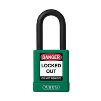 Aluminum safety padlock with green cover 59112