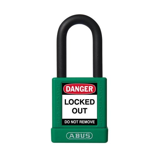 Aluminum safety padlock with green cover 74/40 green