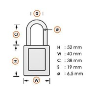 Aluminum safety padlock with blue cover 74/40 BLAU