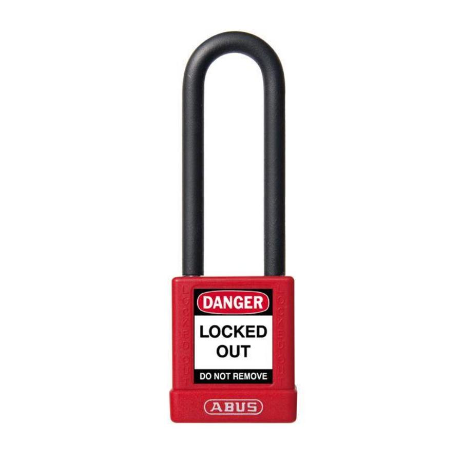 Aluminum safety padlock with red cover 59116