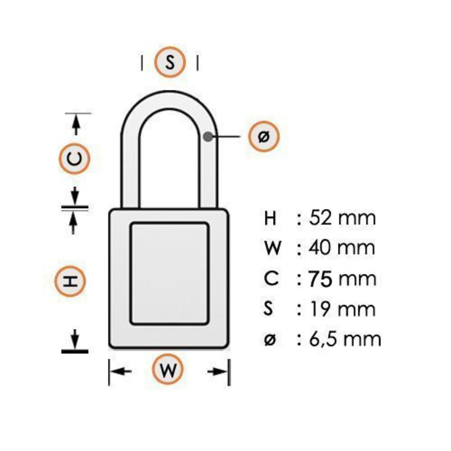 Aluminum safety padlock with back cover 74/40HB75 SCHWARZ